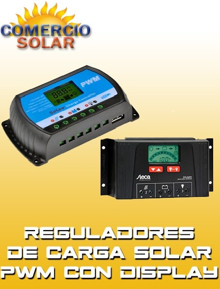 Reguladores de Carga Solar PWM con Display